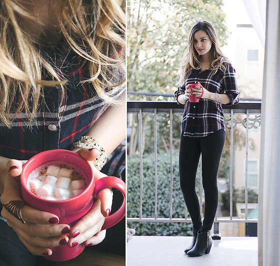 Kassy D - Kenneth Cole Plaid Top, Korkey's Black Ankle Boots, Wolf Circus Ring, Me To We Beaded Bracelet - Winter Plaid