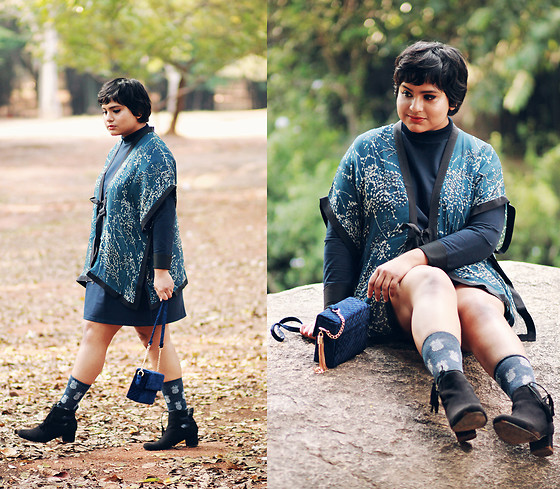 Ragini R - Redrebs Silk Kimono, New Look Quilted Velvet Crossbody, Tabbisocks Pineapple Linen Crew Socks, Boohoo Tassel Ankle Boots, Asos Sweat Dress - Black and Blue