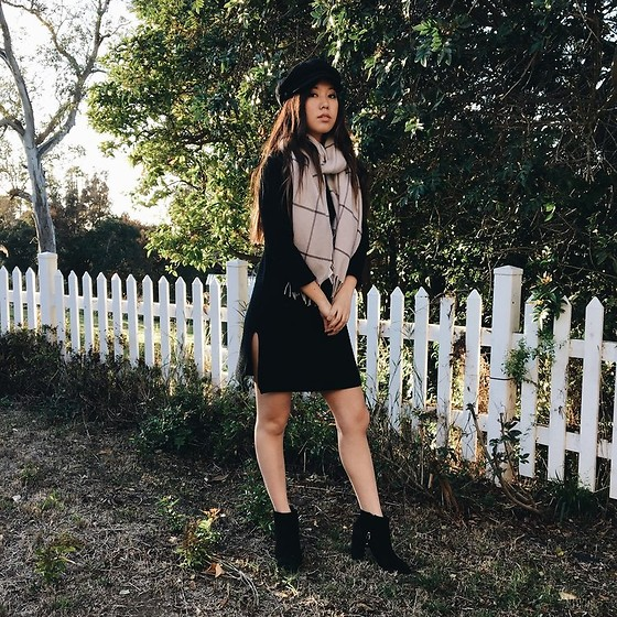 Karen C - Brixton Hat, Madewell Scarf, Dezzal Sweater Dress, Topshop Miles Boot - London Calling