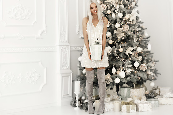 Krist Elle - Simplee Apparel Gray Sequin Dress - Merry Christmas everyone <3