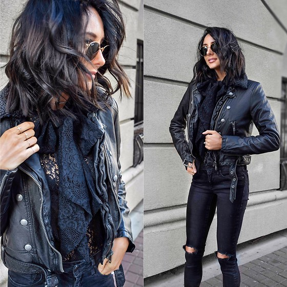 Amber - Ralph Lauren Vegan Leather Jacket, Ralph Lauren Lace Blouse, Mavi Ripped Black Jeans - Leather and lace