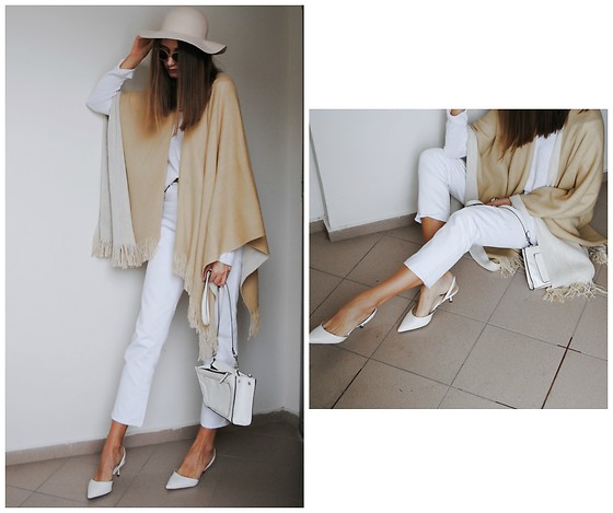 Yulia Sidorenko - H&M Hat, Poncho Cape, River Island Jeans, Zara Shoes, Zara Bag, Reserved Sweater - White and beige