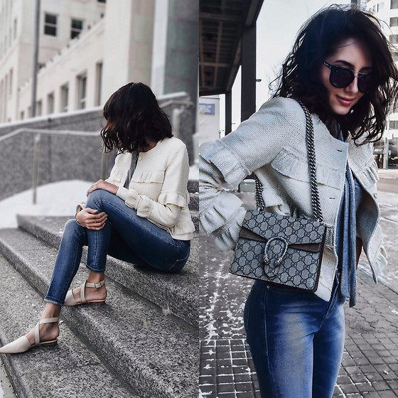 Amber - Club Monaco Ruffle Tweed Jacket, Gucci Dionysus Bag, Mavi High Wasited Jeans - Raw edge ruffles