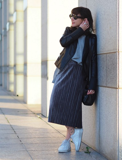 Fashionella ♥ - Faux Leather Biker Jacket, Shein Grey Sweater, Adidas White Sneakers - Grey Sweater and Velvet skirt