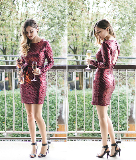 Kassy D - Dynamite Burgandy Sequin Dress, Le Chateau Black Strappy Heels - Pop the Champagne!