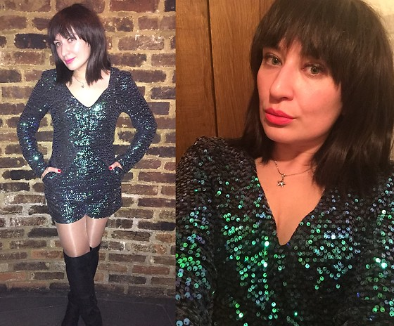 Adriana Style - Romwe Green Sequined Romper - Happy New Year's Eve