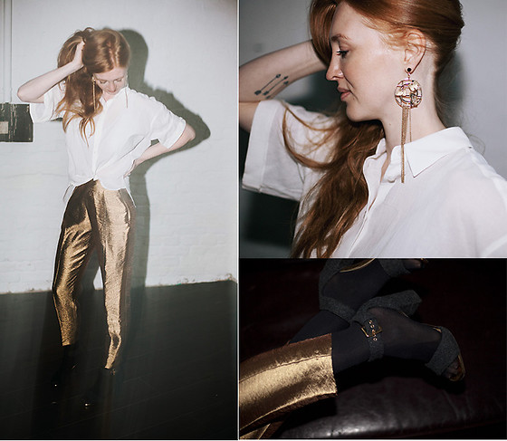 Jorinna Scherle - & Other Stories Statement Earrings, & Other Stories Cropped Shirt, Zara Shiny Jaquard Trousers, Marni Gray Felted Wool Sandal With Block Heel - Happy 2017!