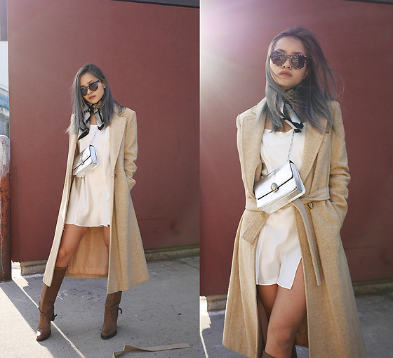 Jessica Tran - Vintage Cream Coat, Chess And The Sphinx Vintage Silk Slip, Oscar Wylee Sunglasses, Thrifted Tan Boots - All Vintage, All The Time