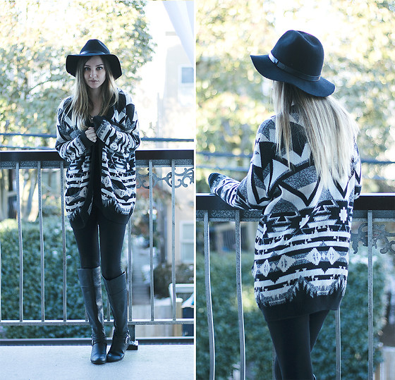 Kassy D - H&M Brim Hat, Guess Knee High Boots, H&M Printed Oversized Cardigan - Black and White