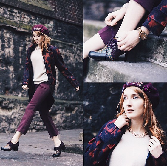 Fashion Artista - Hats By Agnieszka Beret, Marc Cain Coat, Jaegee Trousers, Chie Mihara Shoes, Karen Millen Necklace, Jord Watch - Lady in Burgundy
