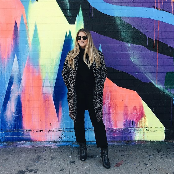 Britnie Harlow - Topshop Leopard Coat, Forever 21 Turtleneck Sweater, Who What Wear Wide Leg Denim, Asos Snakeskin Ankle Boots - Brooklyn