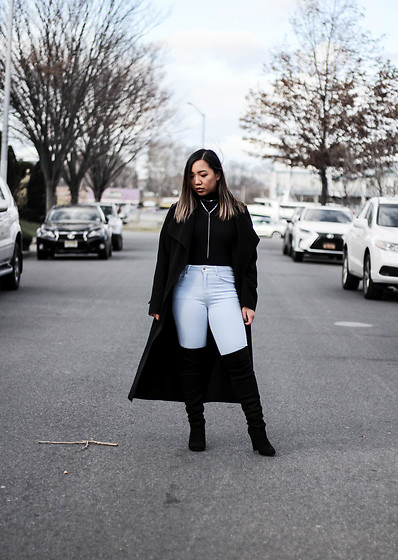 Jenn Hanft - Na Kd Coat, American Apparel Black Crop Top, Forever 21 High Waisted Jeans, Steve Madden Otk's - Dripping in Finesse