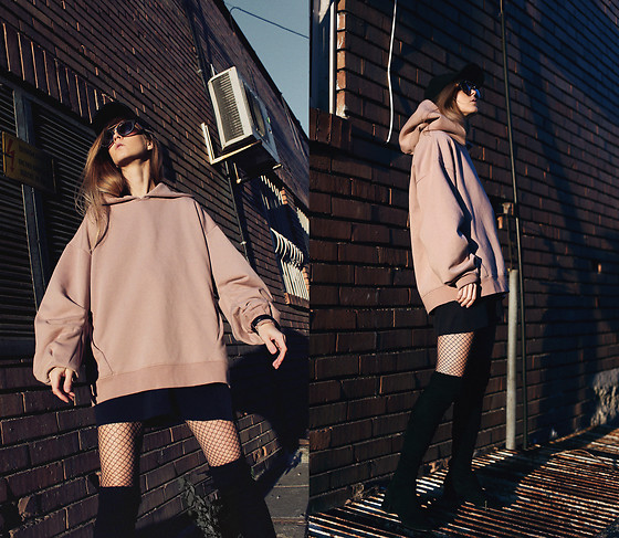 Sirma Markova - H&M Pink Hoodie, Over The Knee Boots, Daniel Wellington Wristwatch, Parfois Sunglasses - SOULMATES NEVER DIE