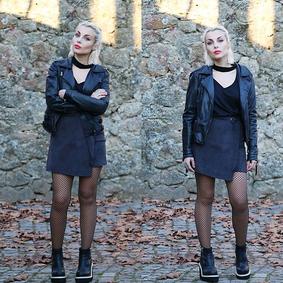 Cátia Gonçalves - Rosegal Skirt, Windsor Smith Chunky Boots, Pull & Bear Leather Jacket - Take my hand,Off to never-never land