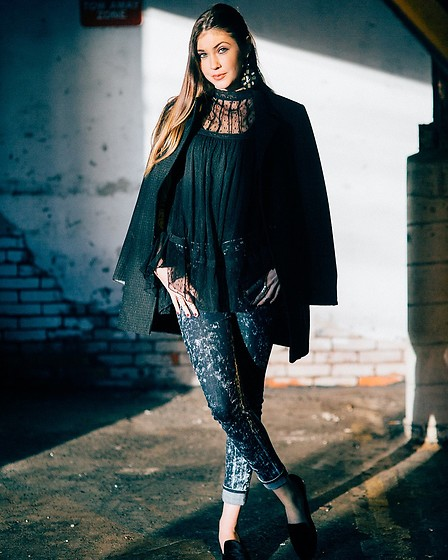 Gabrielle L. - Free People Lace Black Top, Rag & Bone And White Washed Jeans, Dkny Black Boyfriend Jacket - When you catch that cool light