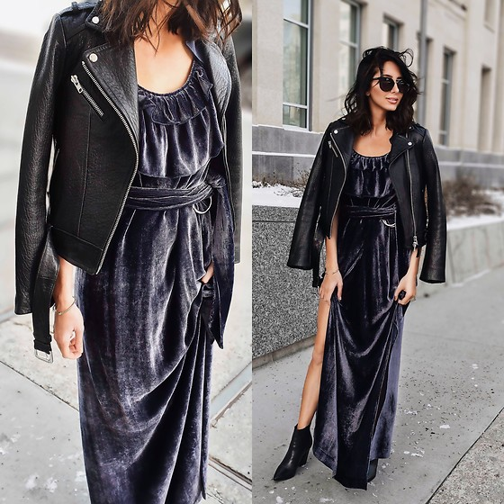 Amber - Aritzia Leather Jacket, Malorie Urbanovitch Velvet Purple Gown, Steve Madden Booties - Velvet gown