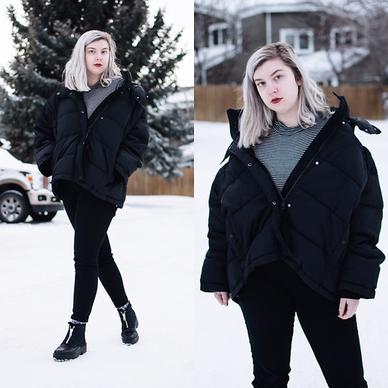 Elizabeth Claire - H&M Black Puffer Jacket, Forever 21 Black And White Striped Turtleneck, Bdg Black High Rise Jeans, Monki Black Ankle Boots - Puff Puff