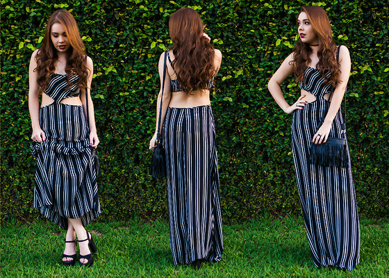 Priscila Figueredo - Striped Dress, Heels Black, Bag - Striped dress