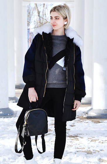 Malinina-ek - - Sheinside Sweatshirt, Zaful Coat, Zaful Bag, Zaful Earrings, Romwe Pants - Snow day