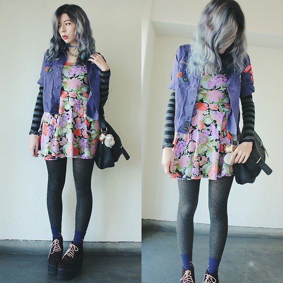 Candy Thorne - H&M Floral Dress, Thrifted Patch Shirt, Shibuya 109 Leopard Platforms - Lilac Storm