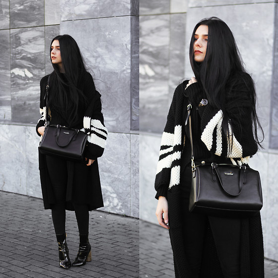 CLAUDIA Holynights - Romwe Black Sweater, Chic Wish Cardigan, Vipme Bag, Ego Boots, Vipme Bag - Black Knit