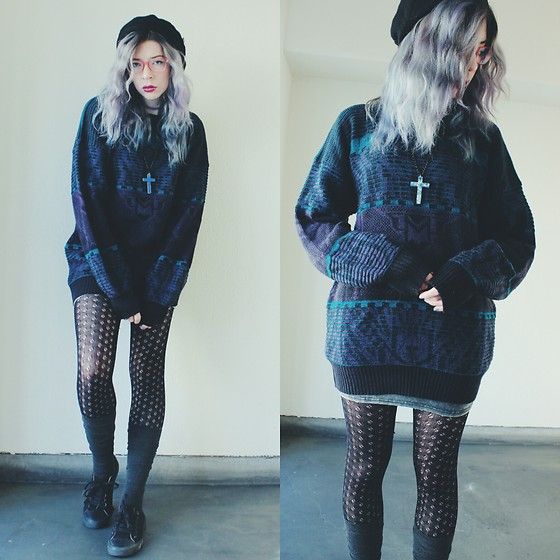 Candy Thorne - Thrifted Oversized Sweater, Harajuku Galaxy Cross - Street Rat