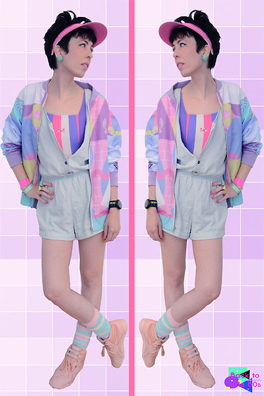 Luly Pastel Cubes - Like Totally Bomber, Forever 21 Salopette, Reebok Pinkish - Neon like