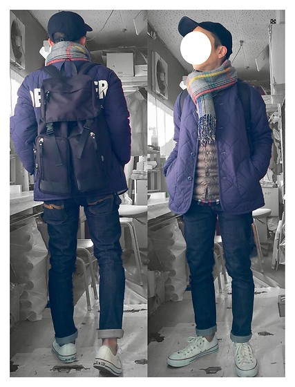 Keysyu Takagi - Uniqlo Cap, Globalwork Muffler, Browny Quilting Jacket, Uniqlo Down Vest, Nudie Jeans, Converse Shoes, Globalwork Backpack, Globalwork Shirt - Outfit