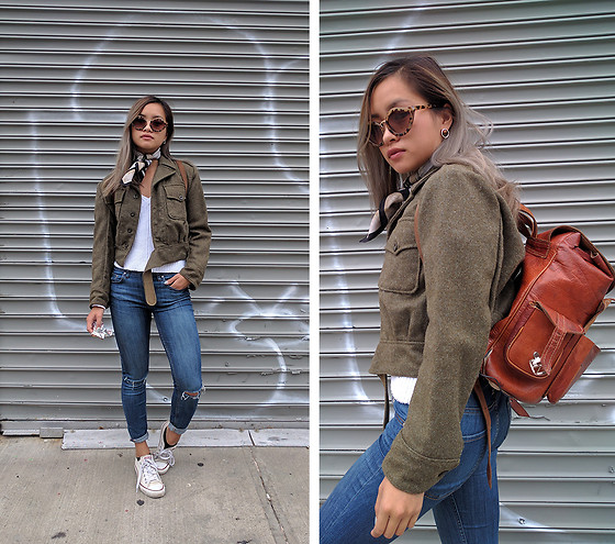 Jessica Tran - Vintage Olive Boxy Military Jacket, Zara Blue Ripped Jeans, Vintage Backpack - Missing Summer