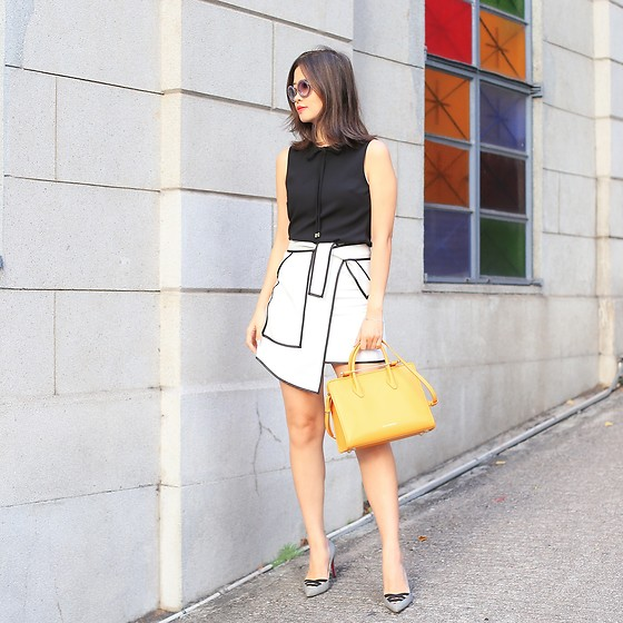 Mayo Wo - Ted Baker Bow Top, Chicwish Flap Skirt, Strathberry Tote Bag - True colors shining through