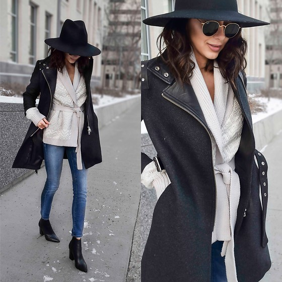 Amber - Diesel Wool And Leather Coat, John And Jenn Sweater, Ray Ban Round Sunglasses - Layered