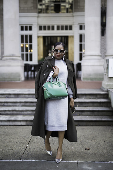 Monica Awe-Etuk - Grey Dress, Double Breasted Coat, Green Bag, Snake Skin Shoes, Ball Earrings - AWED BY MONICA: GREY IN GREEN SPACES