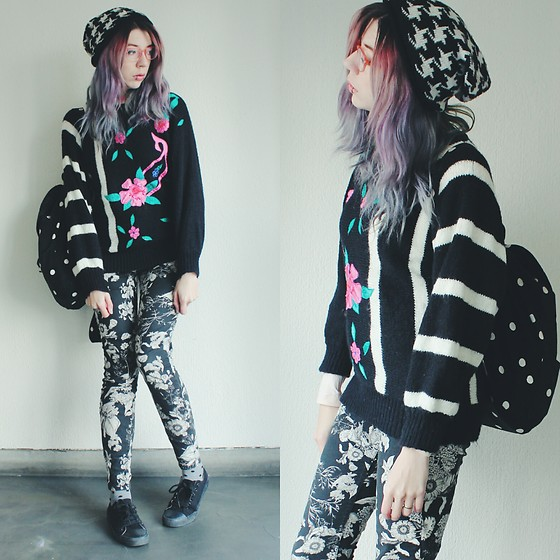 Candy Thorne - Monki Floral Jeans, Thrifted Knit Sweater, Monki Houndstooth Beanie - Your cool aunt