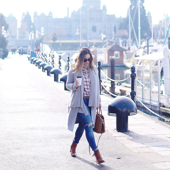 Alexandra G. - Aritzia Wool Coat, Frye Ankle Boots, Mavi Skinny Jeans, Gentle Fawn Plaid Shirt - Mad For Plaid