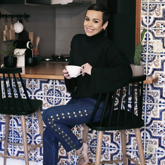 Priscila Diniz - Wide Sleeve High Neck Sweater, Eyelet Denim Pant - Baby is cold outside!