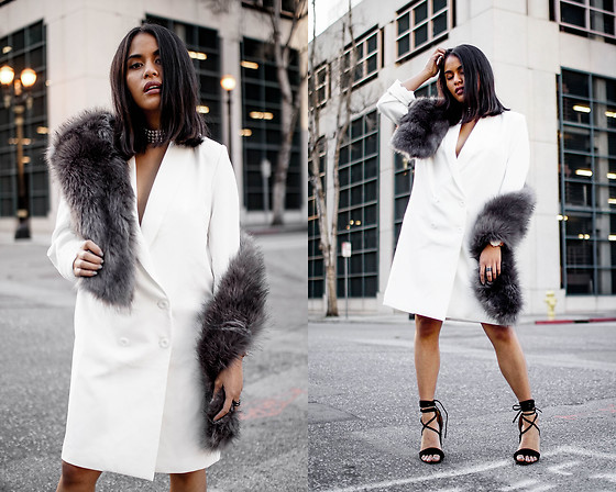 Eda Semana - Forever 21 Longline Blazer Dress, Forever 21 Fur Scarf, 4th And Reckless Lace Up Heels - Blazer Dress and Fur