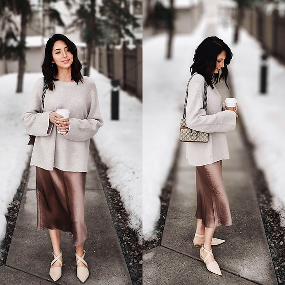 Amber - Vince Satin Midi Skirt, Vince Wool Blend Sweater, Mode Collective Pointed Toe Nude Flats - Satin and coffee
