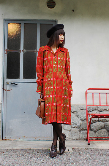 Ping Chiu Armando - Orange Red Dress, Leather Handbag - #FF4500 Orange Red