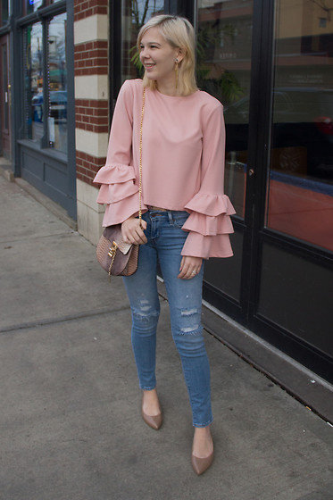 Bree Fesh - Shein Pink Tiered Sleeve Blouse, Shein Snake Skin Bag, Levi's® Light Wash Jeans, Nine West Nude Flats - Ruffle Some Feathers