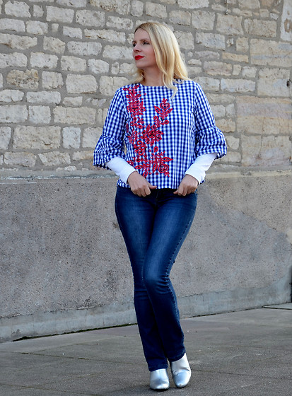 Alice So -  - Embroidered Plaid Blouse