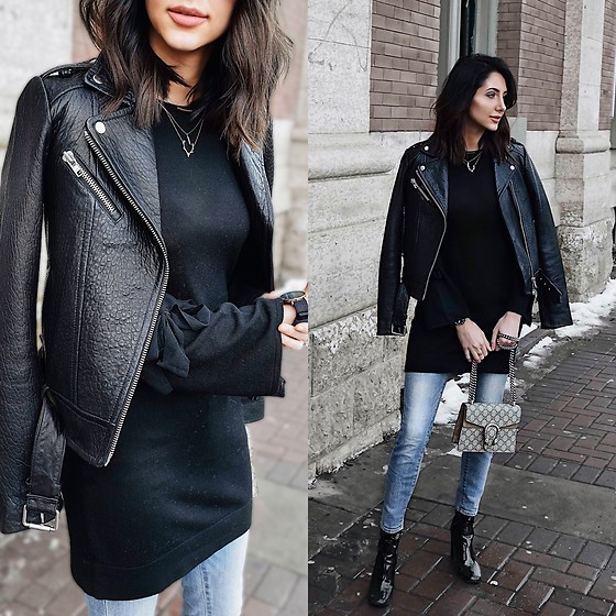 Amber - Aritzia Leather Jacket, Club Monaco Black Sweater Dress, Gucci Dionysus Bag, Lucky Brand Skinny Jeans, Tony Bianco Booties - How to wear a dress in the winter
