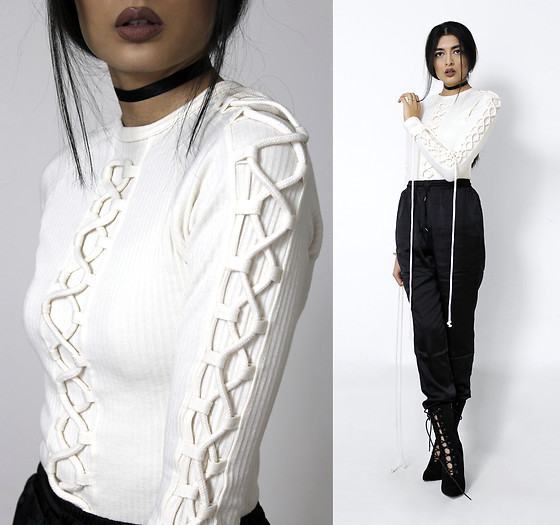 Yatri P - Missguided Top/Dress, Missguided Joggers, Boohoo Boots - LACED UP