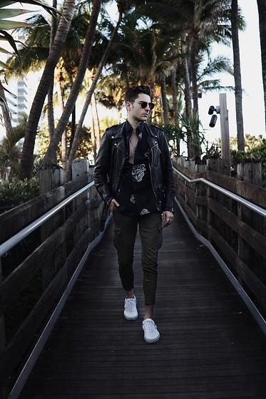 Phil Valles - Schott Leather Jacket, 10 Deep Shirt, Zara Pants, Vans Sneakers - Paradise