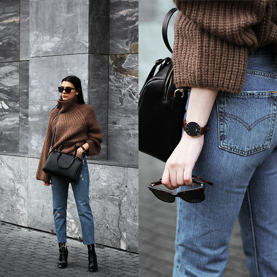 CLAUDIA Holynights - Vipme Bag, Daniel Wellington Watch, Way Darby Sunglasses, Vipme Sweater, Levi's® 501 Vintage Jeans, Ego Patent Boots - Coffee