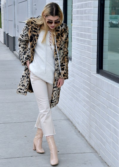 Dani Mikaela McGowan - Knot Sisters Lace Up Oversized White Sweater, Free People Cropped White Jeans, Asos Nude Block Heeled Booties, Bloomingdales Faux Fur Leopard Coat, Vintage Sunglasses - 50 Shades of Beige