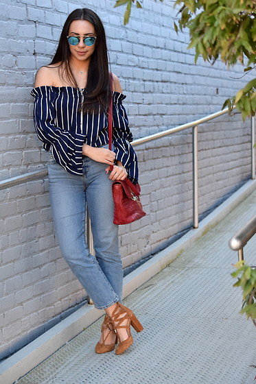 Melissa De Leon - Free People Blue Mirror Sunglasses, Kendra Scott Elisa Choker Necklace, Sheinside Stripe Off The Shoulder Blouse, Jennifer Nicole Collection Red Leather Purse, Lou & Grey Cropped Jeans, Marc Fisher Lace Up Suede Heel - Off-the-Shoulder Stripe