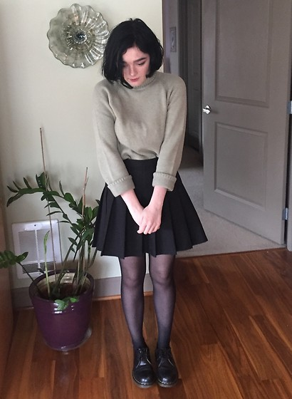 Morgan T - Thrifted Turtleneck Sweater, American Apparel Tennis Skirt, Dr. Martens Dr - Day in seattle