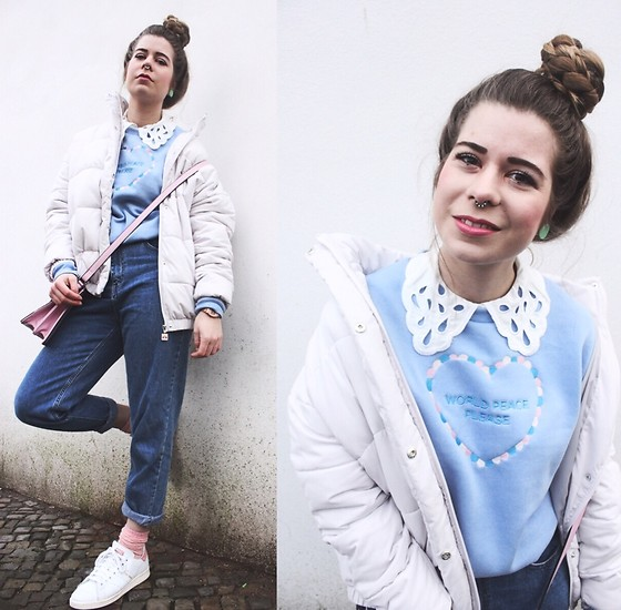 Elaine Hennings - Ellesse Jacket, Asos Pink Bag, Zara Mom Jeans, Adidas Sneakers, Rad Jumper, H&M Blouse - The Puffer Jacket