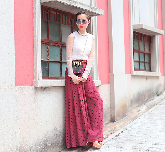 Mayo Wo - Gentle Monster Sunnies, Amelie Street Mesh Top, See By Chloe Palazzo Pants, Sophie Hulme Polka Dot Purse - Palazzo