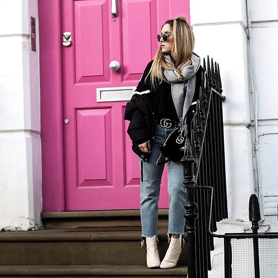 Fashiontwinstinct - Asos Sweater, Zara Puffa Jacket, H&M Scarf, Topshop Mom Jeans - Pink London Doors & Double Gucci Love.